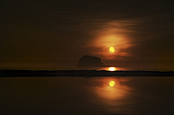 United Kingdom, Scotland, East Lothian, North Berwick, Red moon rise, Bass Rock - SMAF000390