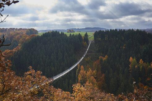 Germany, Rhineland-Palatinate, Hunsrueck, Saar-Hunsrueck-Steig, Swing Bridge Geierlay - BSCF000494