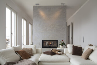 Interior of modern flat, Living room with white couch - FKF001514