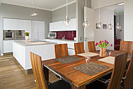 Interior of modern flat, Dining area and open plan kitchen - FKF001520