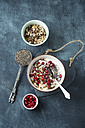 Yoghurt with chia seed, pomegranate seeds and fruit muesli - MYF001221