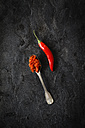 Spoon of homemade chili paste and chili pod on black ground - EVGF002506