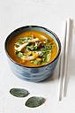 Bowl of vegan carrot sweet potato soup - EVGF002509