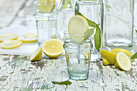 Slice of lemon and mint in water glass, bottle - ASF005761