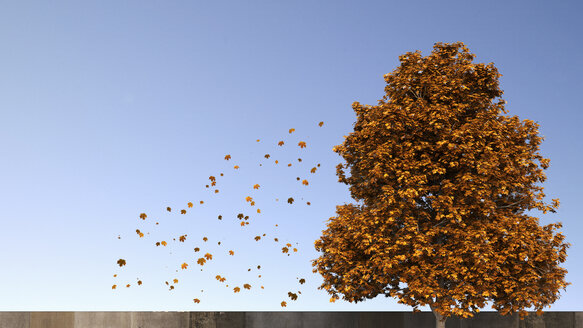 3D Rendering, tree and falling leaves in autumn - UWF000679