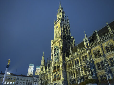 Germany, Munich, view to New City Hall by night - KRPF001645