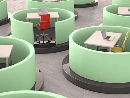 Modern office cubicles, 3d rendering - UWF000682