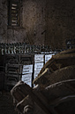 Germany, Burghausen, stacks of old wooden beer crates with empty beer bottles at Raitenhaslach Abbey - HAMF000103