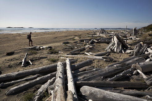 Canada, Vancouver Island, Longbeach, Person taking a walk at the beach - TMF000064