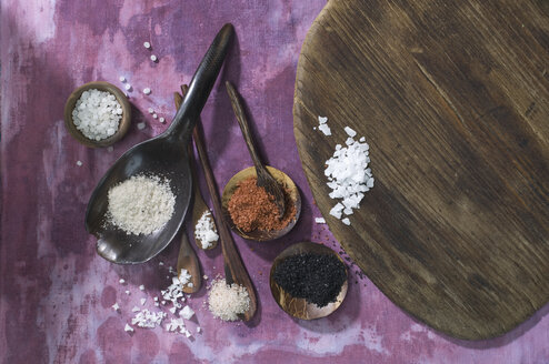 Wooden spoons with different salts on cloth - ASF005764
