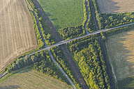 Germany, Lower Saxony, Hildesheim, aerial view of fields, bridge and tracks - PVCF000727