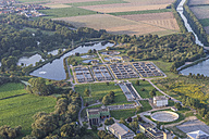 Germany, Lower Saxony, Hildesheim, aerial view of wastewater treatment plant - PVCF000736