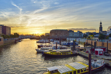 Germany, Hamburg, harbor, Binnenhafen at sunset - RJF000552
