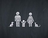 Chalk drawing of family with child and pets - OPF000093