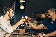 Two happy men in a bar clinking beer glasses - ZEDF000010