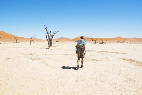 Namibia, Namib Desert, man with backpack walking through Deadvlei - GEMF000524
