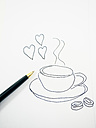 Symbolical picture, coffee break, coffee cup and hearts - AMF004487