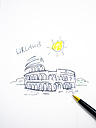 Colosseum in Rome, drawn, holidays, symbolical picture - AMF004494