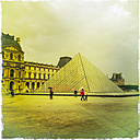 France, Paris, Louvre with glass pyramid - JUN000475