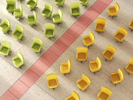 3d Rendering, Green and yellow chair separated by red line - UWF000687