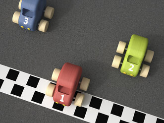3d Rendering, toy racing cars at finishing line - UWF000696