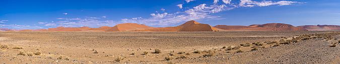 Africa, Namibia, Hardap, Sossusvlei, Namib desert, Namib-Naukluft National Park, Panorama of sand dunes - AMF004508