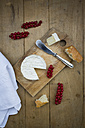 Camembert, bread and red currants on wood - LVF004238