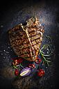 T-Bone-Steak, chili, onion, cherry tomato and rosemary - KSWF001692