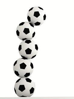 Stack of five soccer balls in front of white background, 3D Rendering - UWF000699