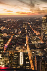 Germany, Frankfurt, elevated view to the city with central station at evening twilight - ZMF000447