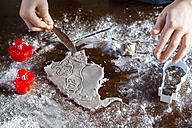 Boy cutting out Christmas cookies - SARF002383