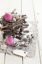 Pink Easter eggs, quail eggs and rustic nest with tag - SBDF002546