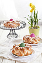 Braided Easter bread with coloured eggs and daffodil - SBDF002549