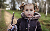 Portrait of little girl with braids in autumn - MGOF001163