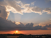 Italy, Tuscany, sunset with dramatic cloud formation - GSF001036