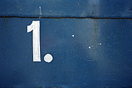 Number one painted white on blue - JMF000363