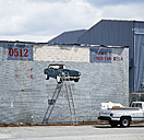 Canada, Vancouver, graffiti on industrial hall, car, ladder - DIS002276