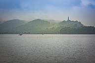 China, Zhejiang, Hangzhou, West lake with boats and Bao Chu Pagoda - NK000420