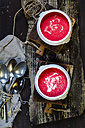 Two bowls of beetroot soup - SBDF002585