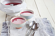 Bowls of beetroot soup - SBDF002588