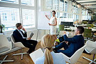 Businesswoman leading a presentation at flip chart - WESTF021588