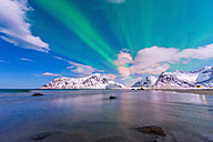 Norway, Lofoten, Aurora over Skagsanden beach - LOMF000137