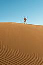 Namibia, Namib Desert, Sossusvlei, Man taking pictures on a dune - GEMF000548