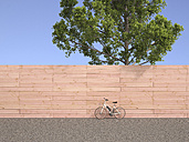 Electric bicycle standing in front of wooden wall, 3D Rendering - UWF000711