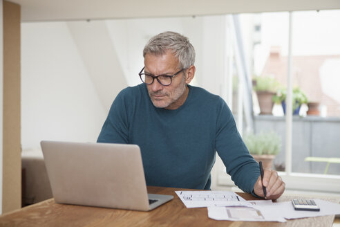 Mature man at home using laptop - RBF003714