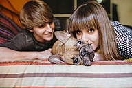 Young couple lying on the bed with their French bulldog - GEMF000572