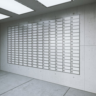 Wall with lockers in a room of a bank, 3D Rendering - UWF000722