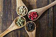 Four wooden spoons of different peppercorns - SARF002413