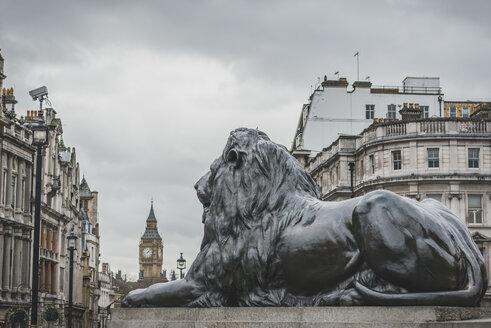 United Kingdom, England, London, Trafalgar Square, lion sculpture, Big Ben in the background - KEBF000312