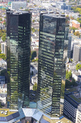 Germany, Frankfurt, view to twin towers of Deutsche Bank from above - MABF000357